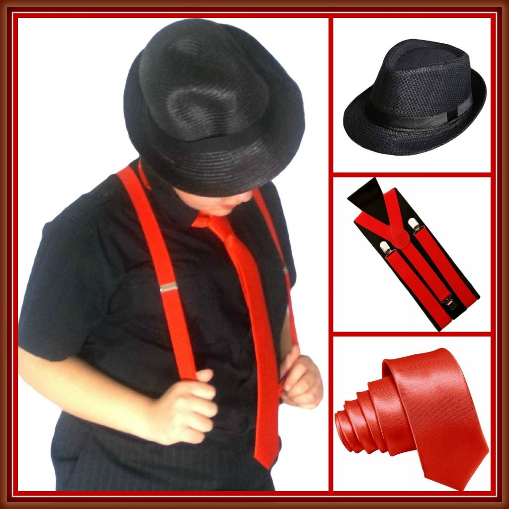 red suspenders tie black hat mafia collage